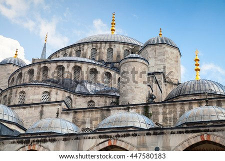 Blue Mosque or Sultan Ahmed Mosque, it is a historic mosque located in Istanbul, Turkey, one of the most popular city landmarks. It was built between 1609 and 1616 during the rule of Ahmed I - stock photo