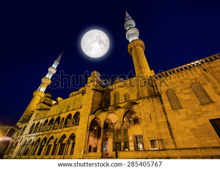 """Blue Mosque (Sultanahmet Camii) at night, Istanbul, Turkey """"Elements of this image furnished by NASA """" - stock photo"""
