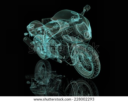 Blue motorcycle. 3d wire model - stock photo