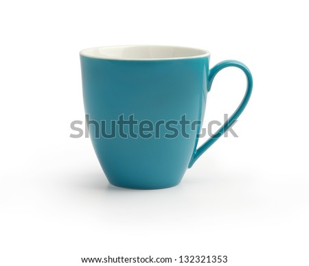 Blue Mug Isolated on White - stock photo