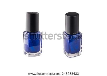 Blue nail polish isolated on a white background - stock photo