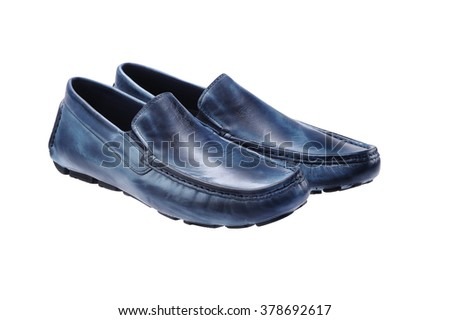 Blue Navy Leather Shoes Men, Accessories isolated on white - stock photo