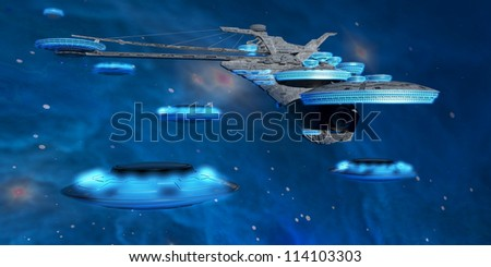Blue Nebula Expanse - Flying saucers come back to a spaceport near a blue nebula in space. - stock photo