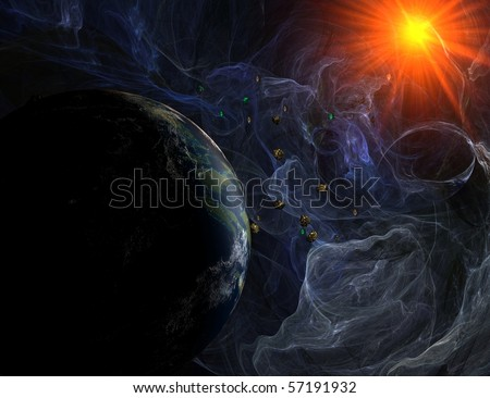 Blue nebula with closeup view on planet and sun with asteroids - stock photo