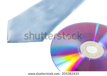 Blue necktie and CD-Rom for text on a white background - stock photo
