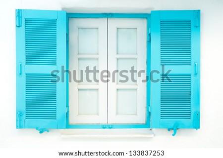 blue nice lovely window in greece - stock photo