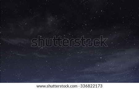 Blue night sky with white and grey clouds - stock photo