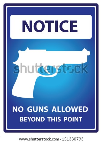 Blue Notice Plate For Safety Present By No Gun Allowed Beyond This Point With Gun Sign Isolated on White Background  - stock photo