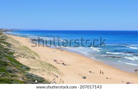 Blue ocean, beach and sky, Portsea, Morington Peninsula, Victoria, Australia - stock photo