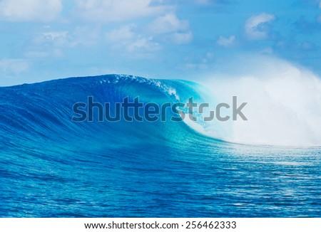 Blue Ocean Wave, Epic Surf - stock photo