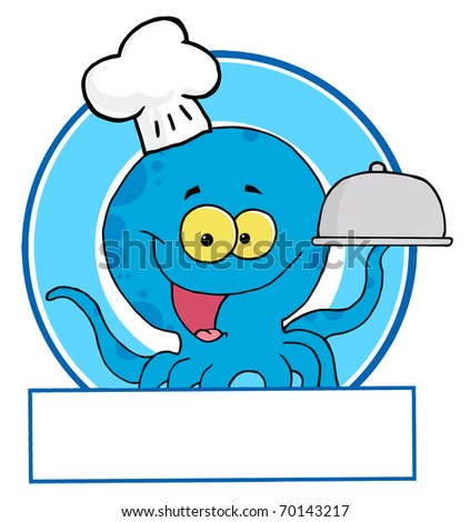 Blue Octopus Chef Logo - stock photo