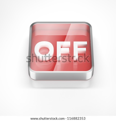 blue OFF button isolated - stock photo