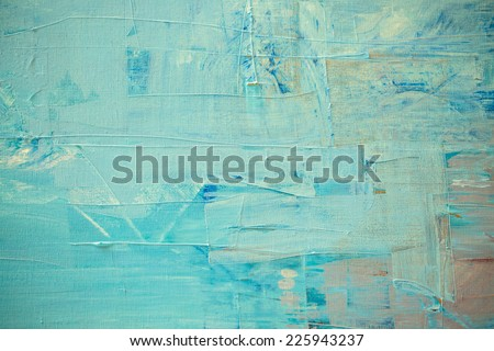 Blue oil color painting texture. Abstract background  - stock photo