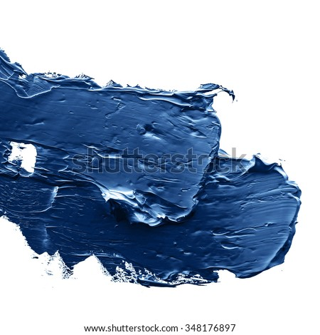 blue  oil paint on a palette - stock photo