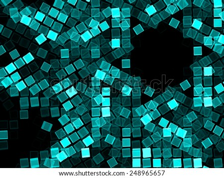 blue on black abstract background with cubes geometry - stock photo