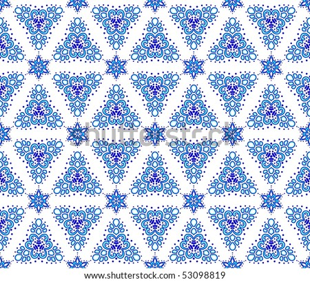 Blue on white seamless arabesque (jpg); vector version also available - stock photo