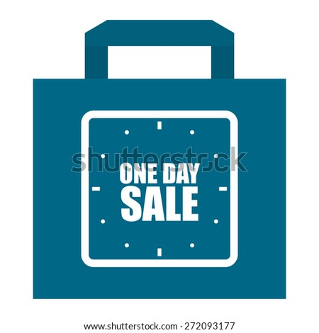 Blue One Day Sale Shopping Bag, Label, Sign or Icon Isolated on White Background - stock photo