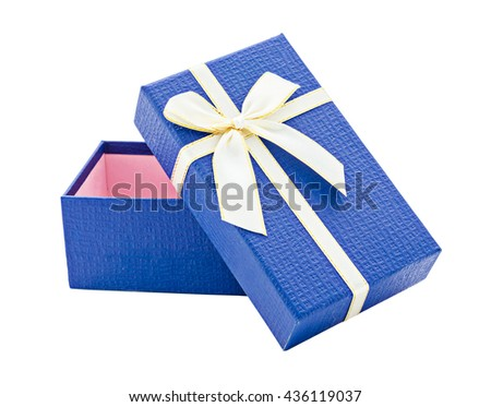 Blue open gift box with white and gold ribbon isolated on white background, Saved clipping path. - stock photo