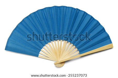 Blue Open Hand Fan Isolated on a White Background. - stock photo