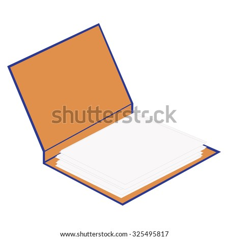 Blue opened cardboard folder with papers raster isolated, file folder, document case, blocknote - stock photo