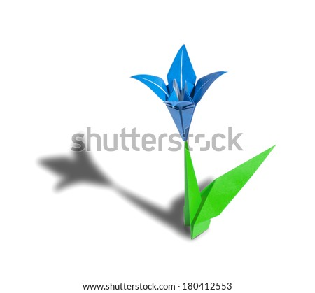 Blue origami flower lily isolated on white - stock photo