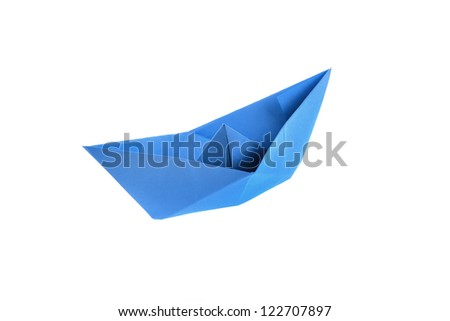 Blue origami paper boat isolated on white - stock photo