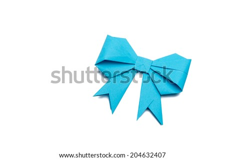 blue origami paper bow on white paper background - stock photo
