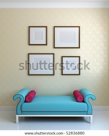 Blue ottoman and empty frames on the wall - stock photo