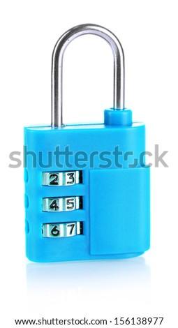 Blue padlock isolated on white - stock photo