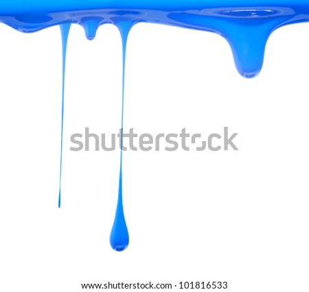 Blue paint dripping - stock photo