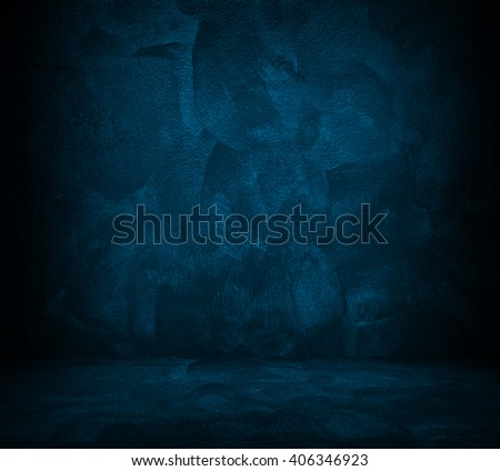 blue paint interior background - stock photo