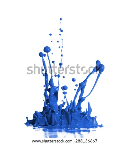 Blue Paint Splash isolated in White Background - stock photo