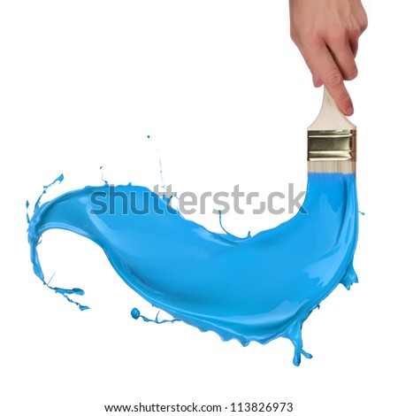 Blue paint splashing out of brush. Isolated on white background - stock photo