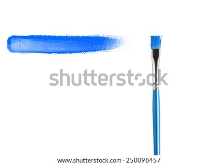 blue paint stroke with paintbrush, isolated on white background.  - stock photo