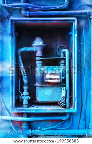 Blue painted Gas Meter - stock photo