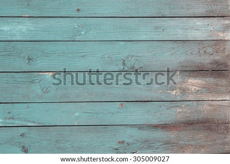 blue painted old wood planks texture grunge background - stock photo