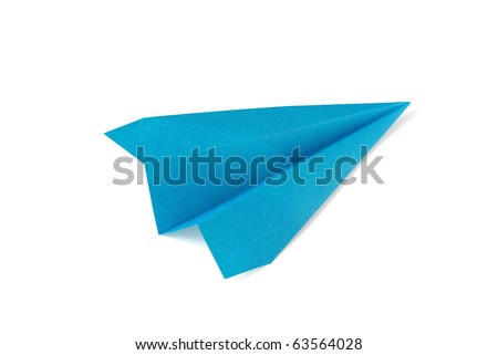 Blue paper plane on white background - stock photo