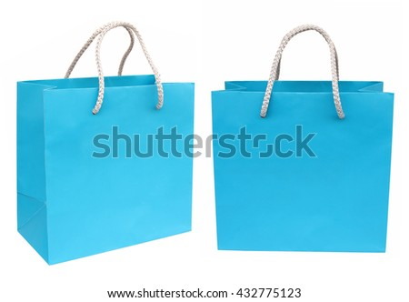 Blue paper shopping bag isolated on white background - stock photo