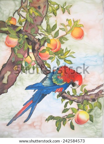 blue parrot macaw with peaches - an original modern batik painting on silk - stock photo