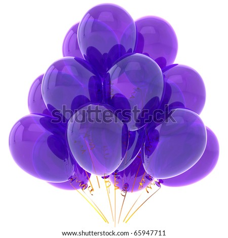Blue party balloons colored purple. Happy birthday decoration. Holiday anniversary graduation retirement greeting card concept. Detailed 3d render. Isolated on white background - stock photo