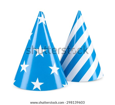 blue party hat isolated on a white background. - stock photo