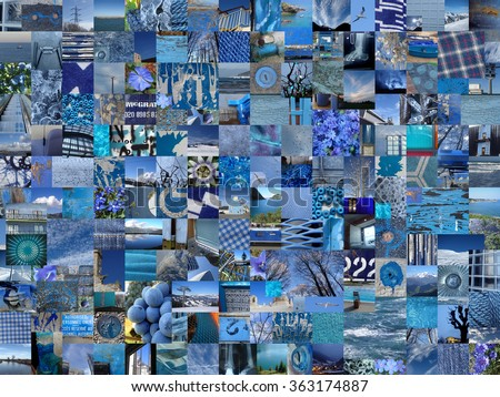 BLUE patchwork photo montage background - stock photo