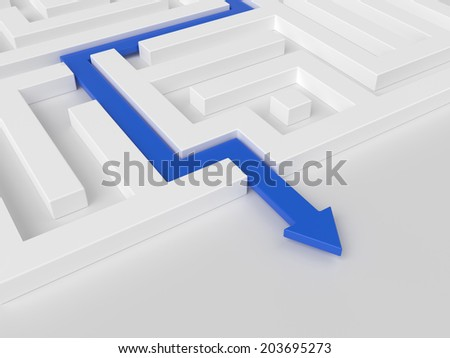 Blue path across white labyrinth. Success concept - stock photo
