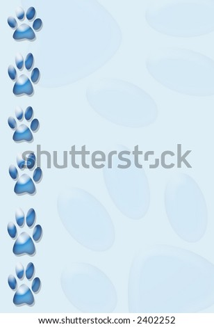 blue paw print border,background or stationary - stock photo