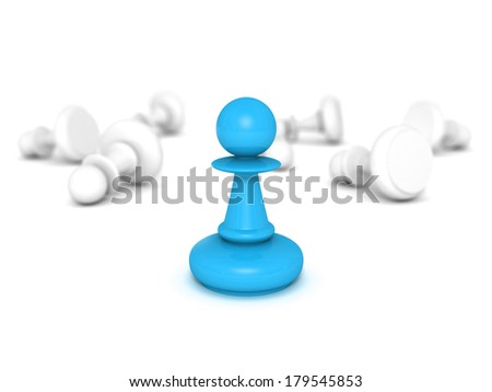blue pawn standing infront of some white lying pawns. business lidership success concept 3d render illustration - stock photo