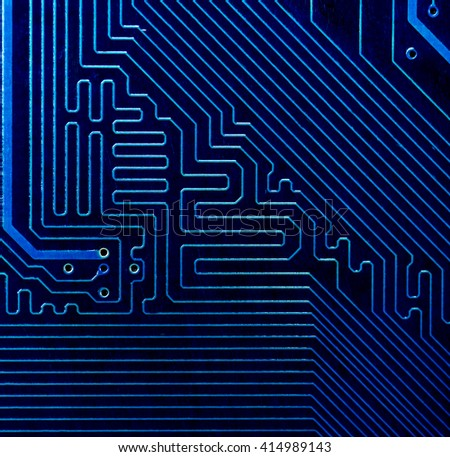 blue pcb board circuit very high detail - stock photo