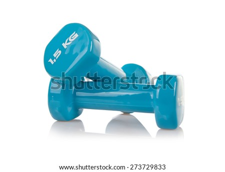 Blue PCV dumbbells sport accessory isolated on white, two vinyl or plastic coated hand gym, one and half kilogram weights in horizontal orientation, nobody. - stock photo