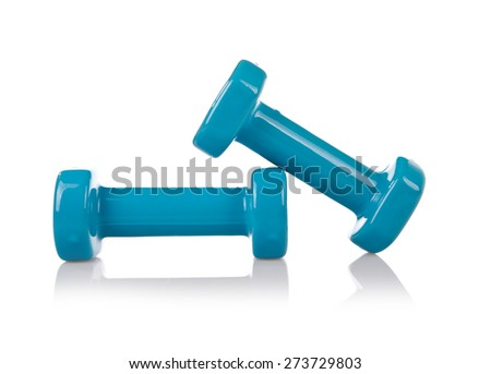 Blue PCV gym dumbbells, sport accessory isolated on white, two vinyl or plastic coated hand weights, kilogram weigh in horizontal orientation, nobody. - stock photo