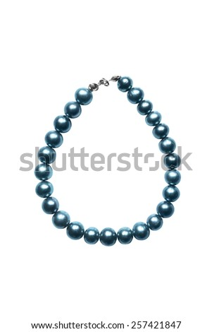 Blue pearl bracelet isolated over white - stock photo
