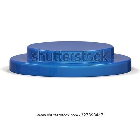 Blue pedestal on white background - stock photo